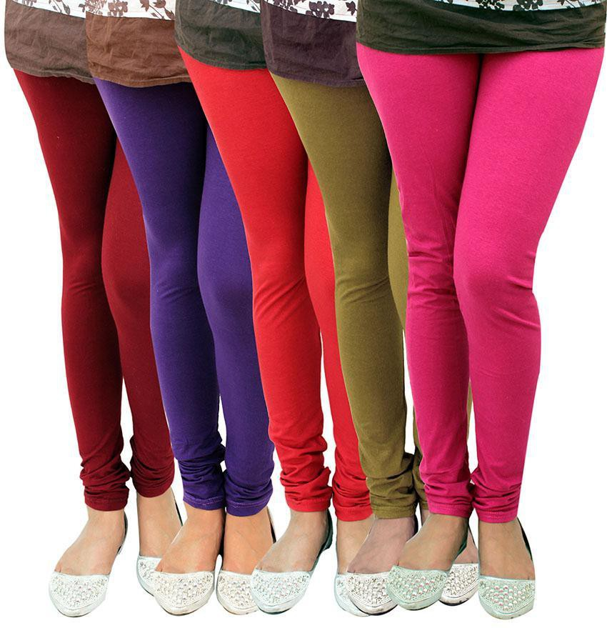 Alexus Womens Multicolor Leggings(Pack of 5)