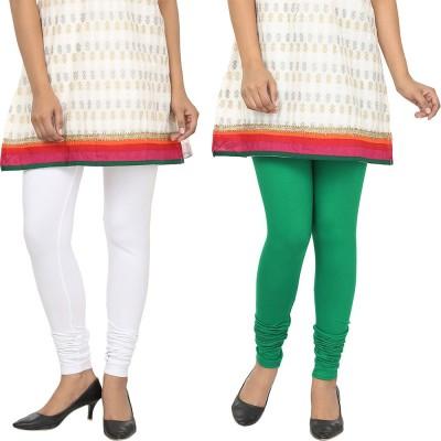Agrima Fashion Women's White, Green Leggings