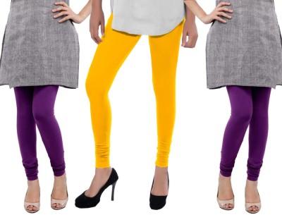 Sampoorna Collection Women's Yellow, Purple, Purple Leggings