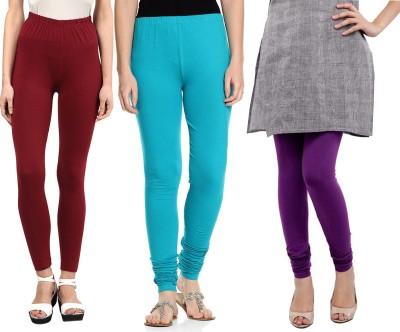 Sampoorna Collection Women's Maroon, Blue, Purple Leggings