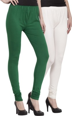 Venustas Women's Dark Green, White Leggings