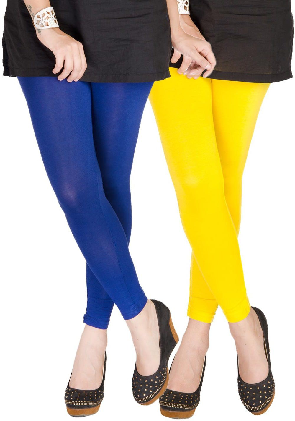 Medoo Womens Blue, Yellow Leggings(Pack of 2)