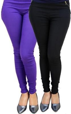 Kyron Women's Black, Purple Jeggings