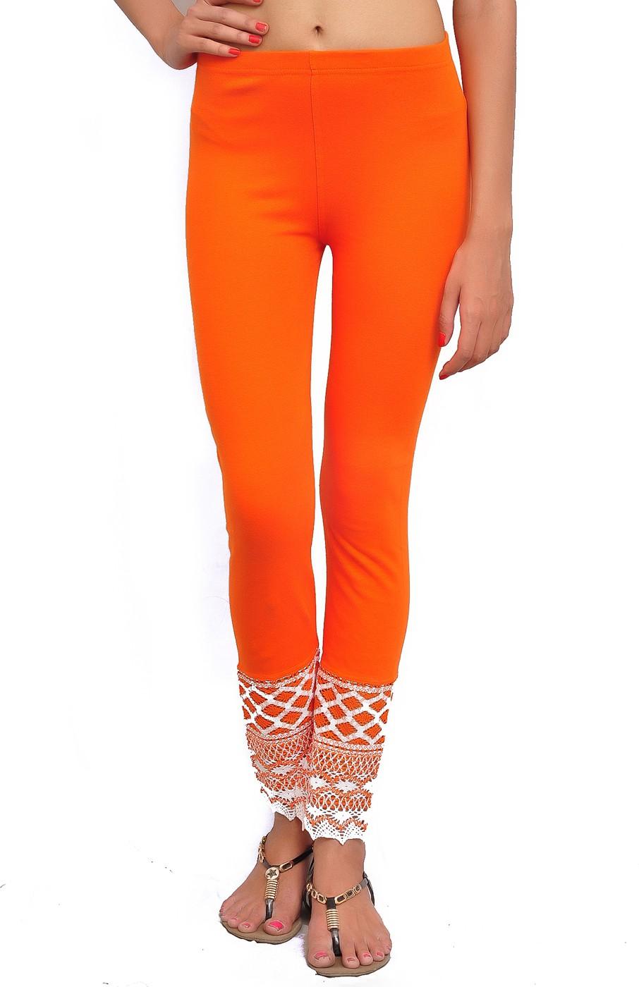 Charu Boutique Womens Orange Leggings