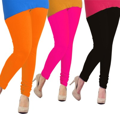 Tyra Women's Orange, Pink, Black Leggings