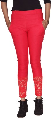 Ally The Creations Women's Red Jeggings