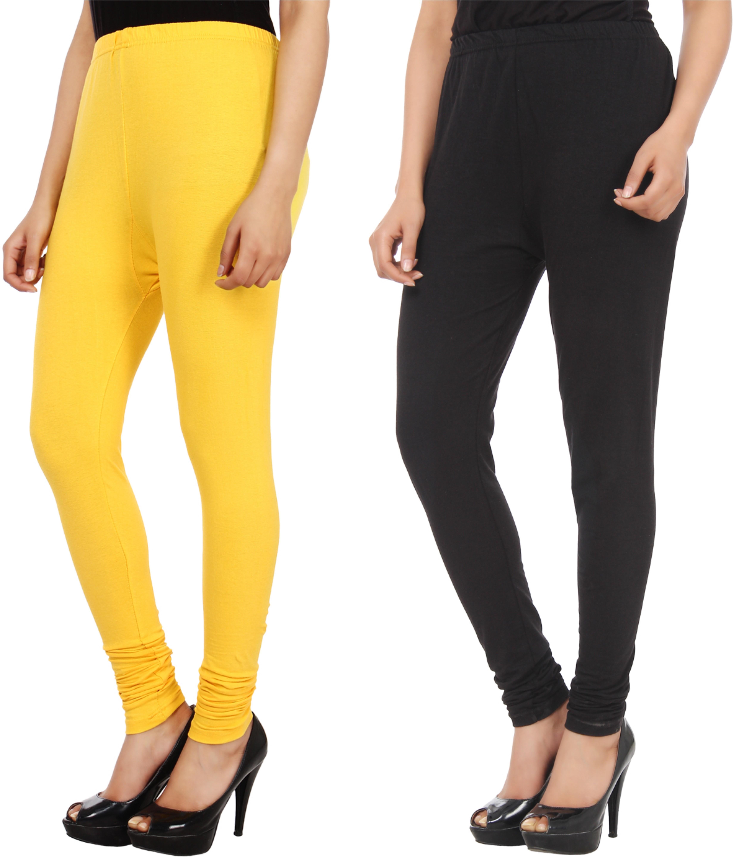 Xpos� Womens Yellow, Black Leggings(Pack of 2)