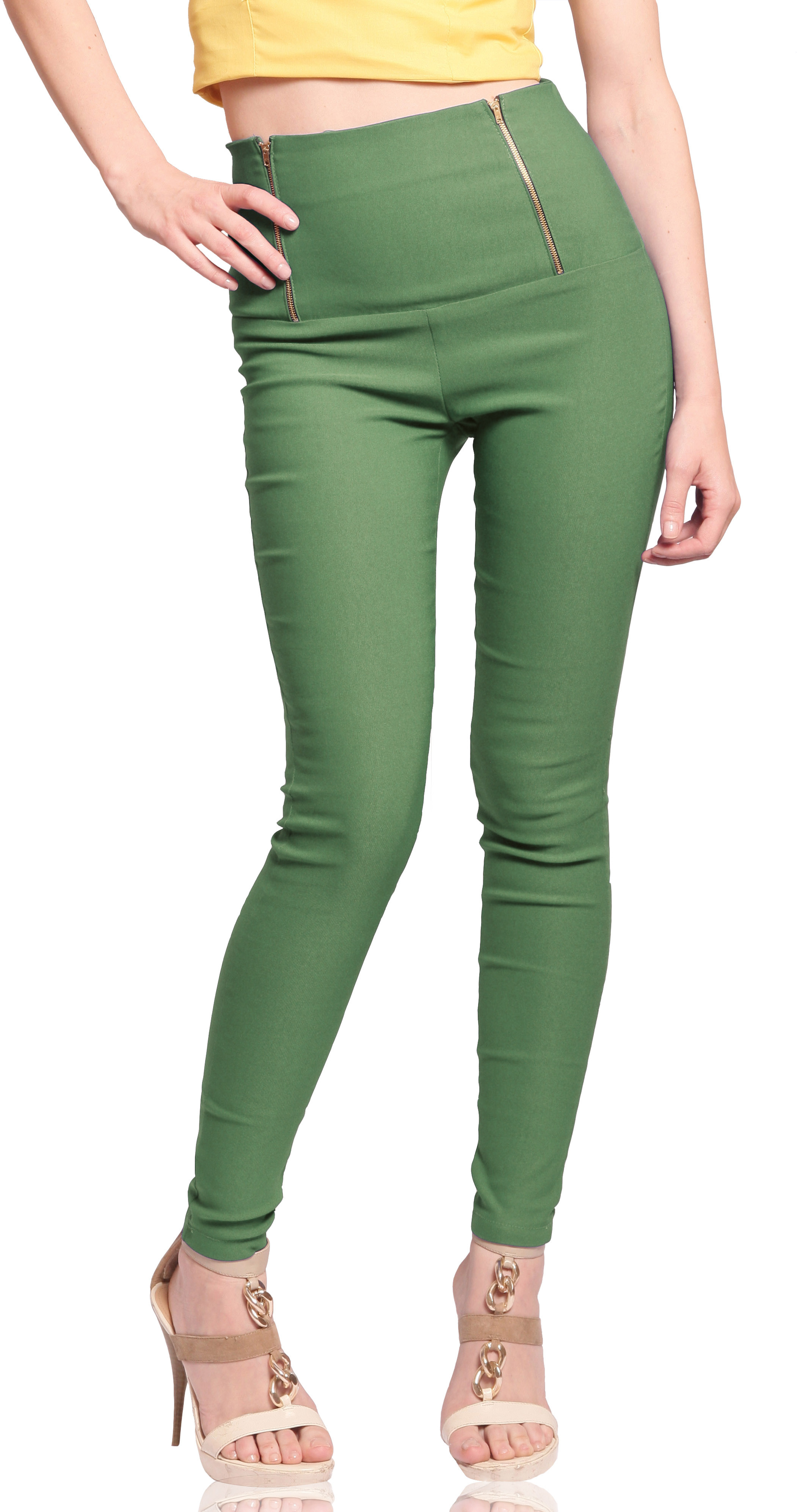 Miss Chase Womens Green Jeggings