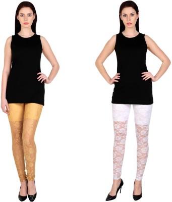 Simrit Women's Beige, White Leggings