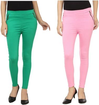 Emblazon Women's Green, Pink Jeggings
