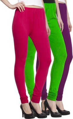 VENUSTAS Women's Light Green, Purple, Silver Leggings