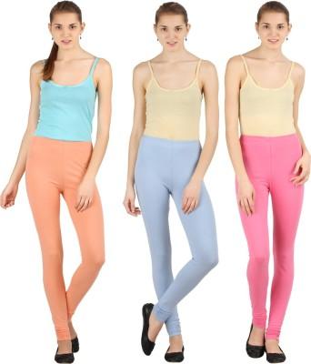 Silvio Women's Beige, Pink, Light Blue Leggings