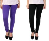 Anekaant Women's Purple, Black Leggings ...