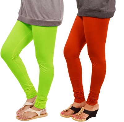 Leggings World Women,s Light Green, Orange Leggings