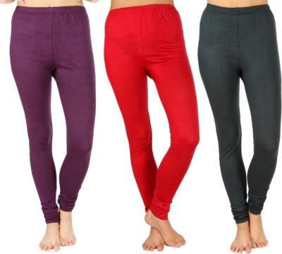 SLS Women's Purple, Maroon, Dark Green Leggings