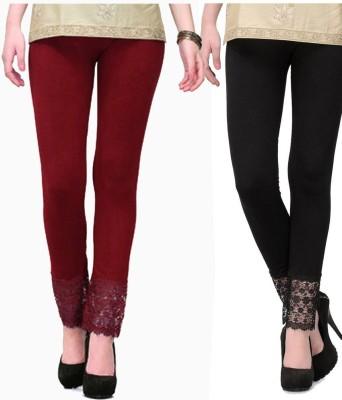 MDS Jeans Women's Maroon, Black Leggings