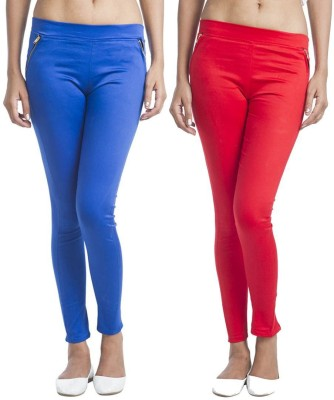 TeeMoods Women's Red, Blue Jeggings