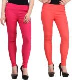 Jainish Women's Pink, Red Jeggings (Pack...