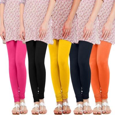 WellFitLook Women's Pink, Black, Yellow, Blue, Orange Leggings