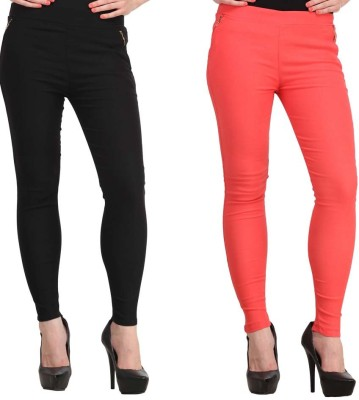 Kyron Women's Black, Orange Jeggings