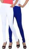 Fascino Women's White, Blue Leggings (Pa...