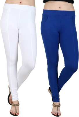 Baremoda Women's White, Blue Jeggings