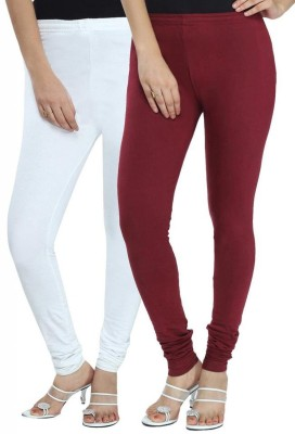 NE Women's White, Maroon Leggings