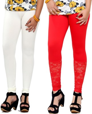 By The Way Women's White, Red Leggings