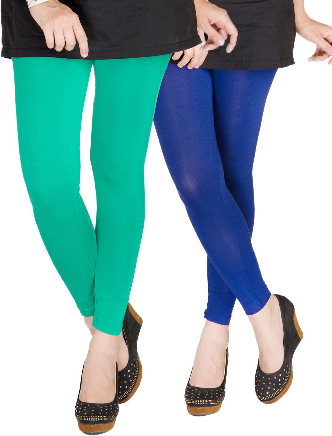 Medoo Womens Green, Blue Leggings(Pack of 2)