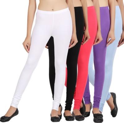 Sewn Women's Light Blue, Pink, White, Black, Purple Leggings