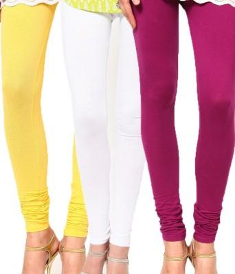 divine creations Women's Yellow, White, Purple Leggings