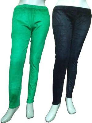 Miraaya Women,s Green, Black Jeggings