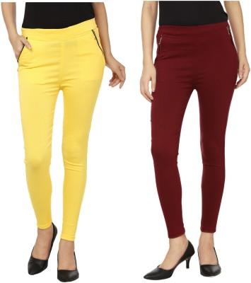 Lambency Women's Yellow, Brown Jeggings