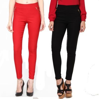 Dharamanjali Women's Red, Black Jeggings