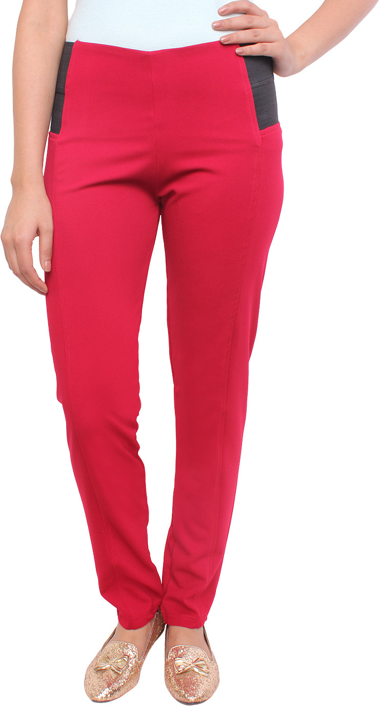 White Feather Womens Maroon Jeggings