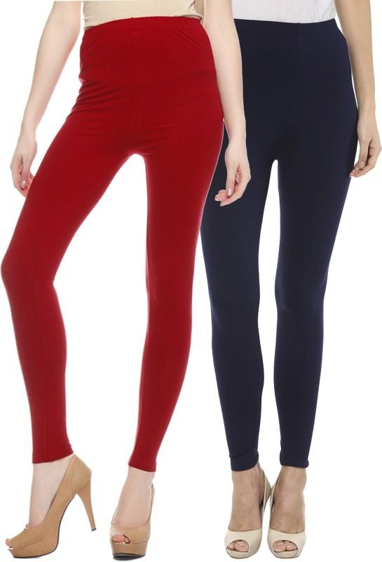 Sakhi Sang Women's Red, Blue Leggings(Pack of 2)