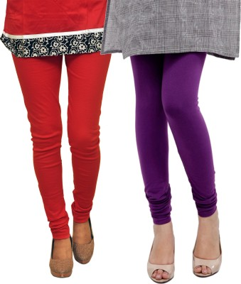 Dyed Colors Women's Red, Purple Leggings