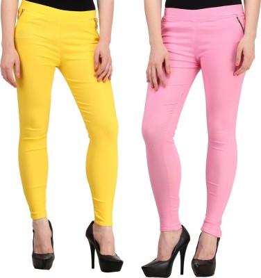 Jainish Women's Yellow, Pink Jeggings