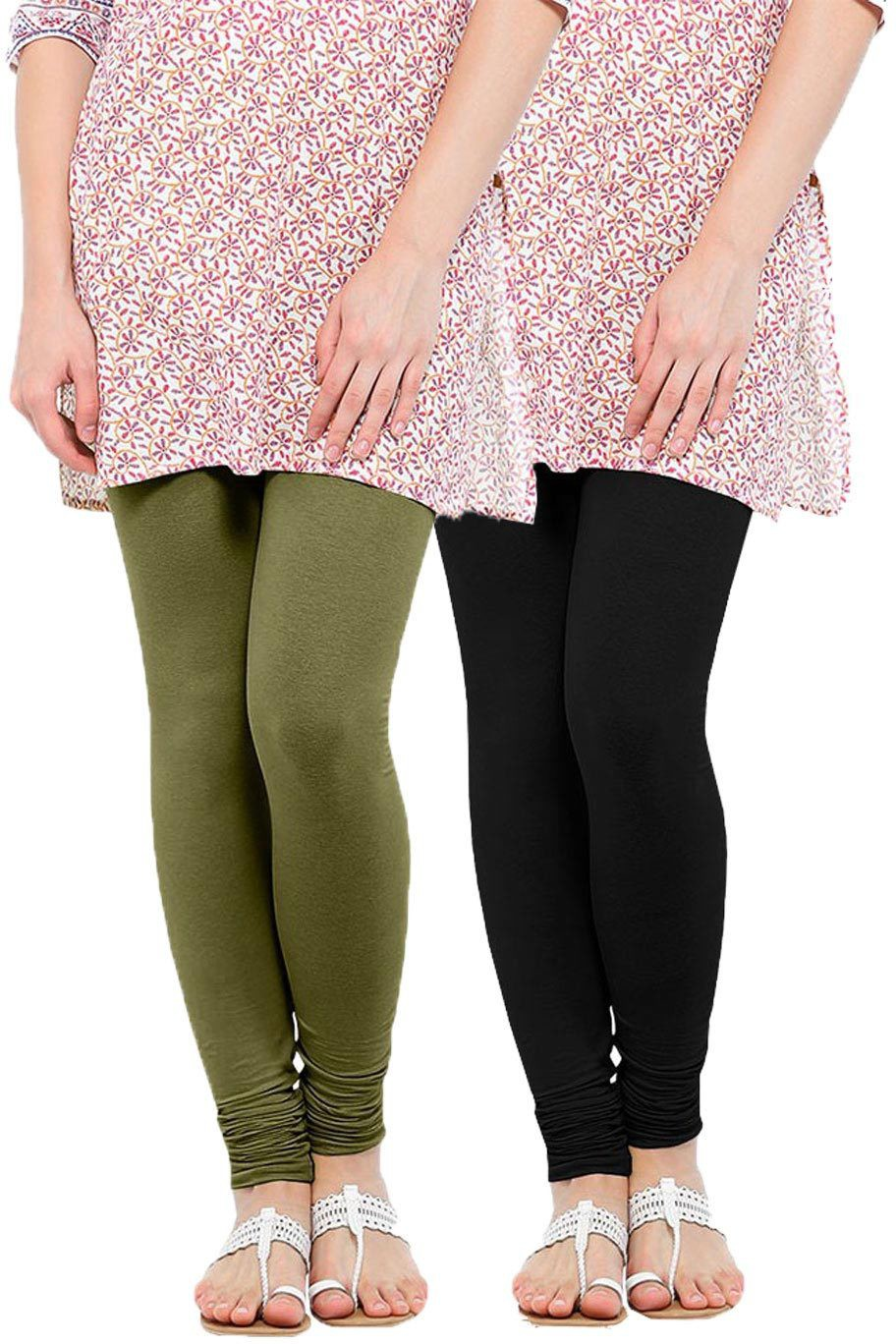 Linking Threads Womens Light Green, Black Leggings(Pack of 2)