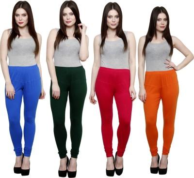 Pistaa Women's Blue, Dark Green, Pink, Orange Leggings
