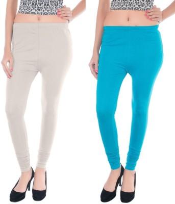COLORS MORE Women's Light Blue, White Leggings