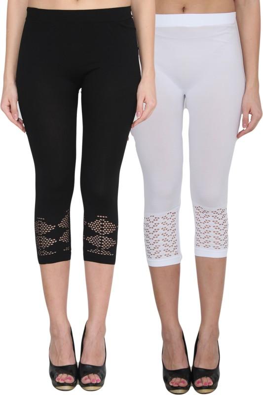 NumBrave Women's Black, White Leggings(Pack of 2)