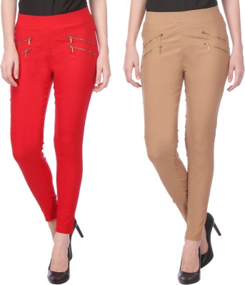 Flying Duck Women's Red, Beige Jeggings