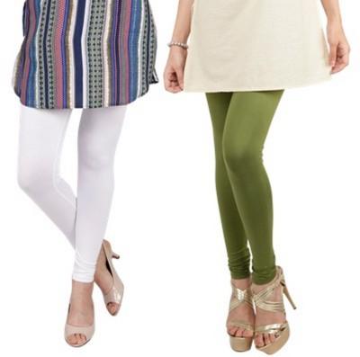 Bembee Women's White, Dark Green Leggings