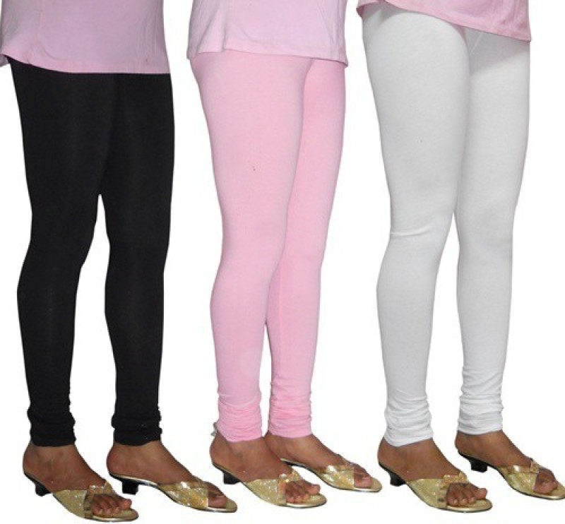 LE' SUPER Women's Black, White, Pink Leggings(Pack of 3)