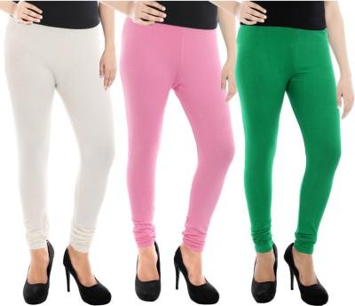 Paulzi Women's White, Pink, Green Leggings