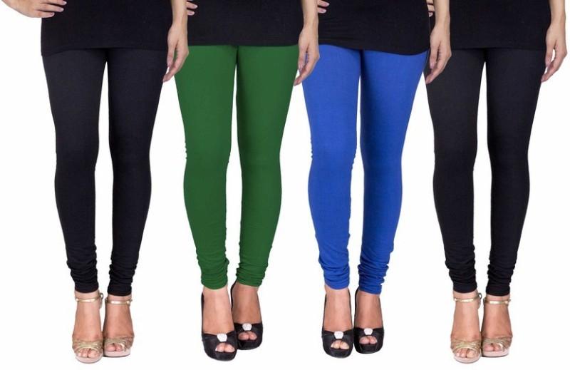 C&S Shopping Gallery Women's Black, Dark Green, Blue, Black Leggings(Pack of 4)