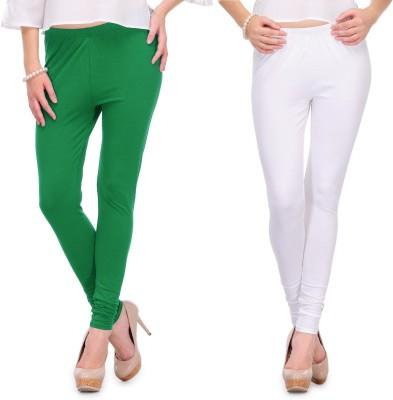 Body Size Women's White, Green Leggings