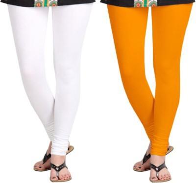 shivam Garments Women's White, Orange Leggings