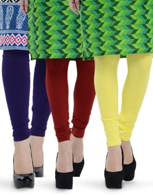 Tjaggies Women's Yellow, Maroon, Purple Leggings